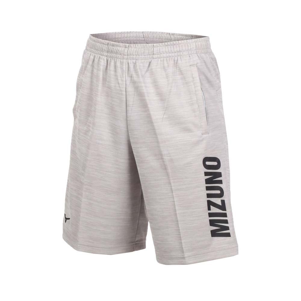 MIZUNO 男针织短裤-五分裤 运动短裤 慢跑 训练 路跑 美津浓 浅麻灰黑@32TB850283@