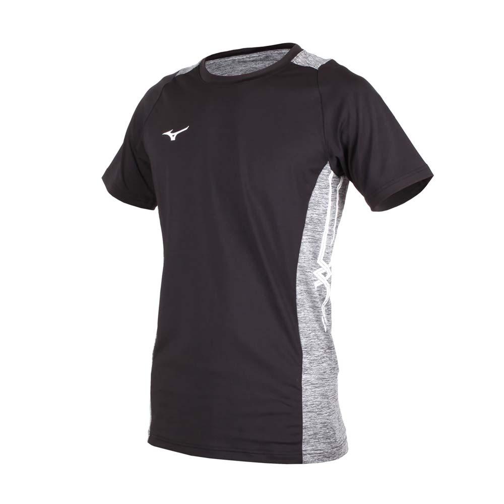 MIZUNO 男排球短袖T恤-短T 短袖上衣 训练 美津浓 黑灰白@V2TA8G1909@