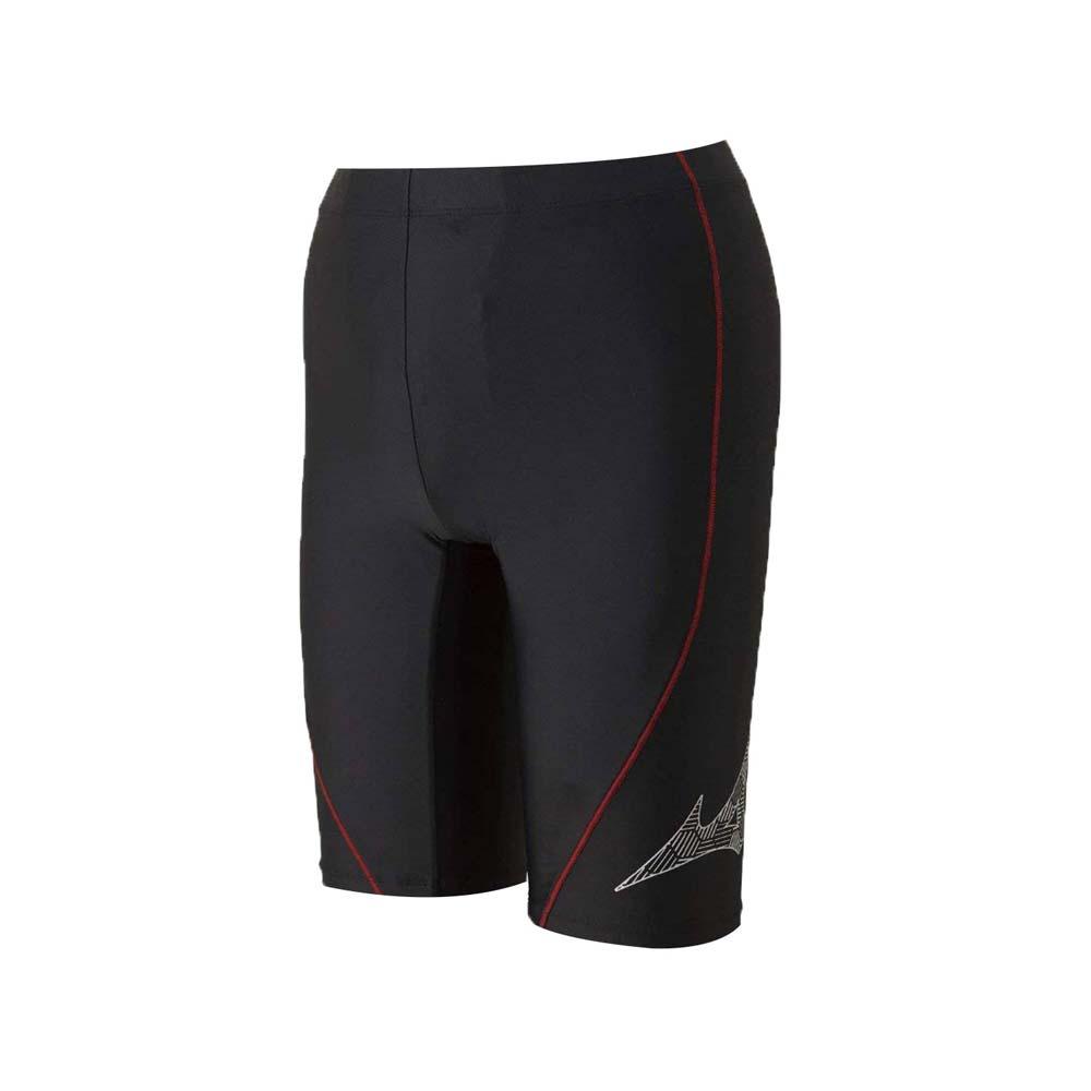 MIZUNO SWIM FITNESS 男五分泳裤-游泳 平口泳裤 四角泳裤 黑红银@N2JB810491@