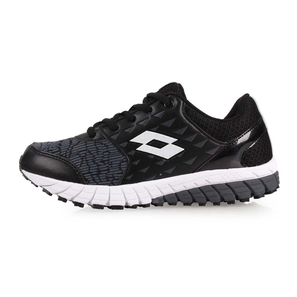 LOTTO 男女童双密度避震跑鞋-童鞋 训练 慢跑 路跑 黑灰白@LT8AKR7050@