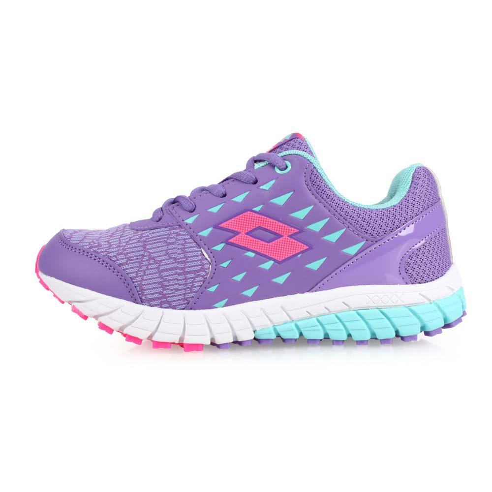 LOTTO 男女童双密度避震跑鞋-童鞋 训练 慢跑 路跑 紫水蓝桃红@LT8AKR7057@