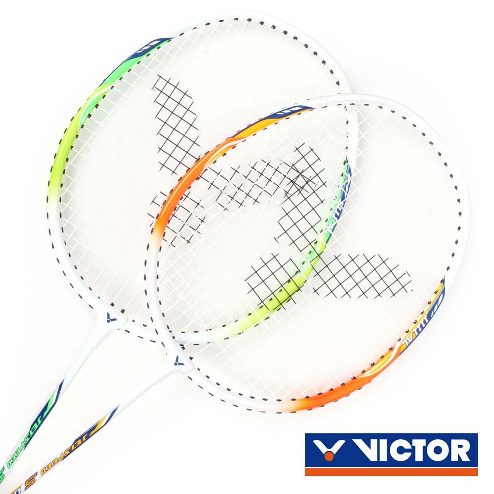 VICTOR 極速-穿線拍-對拍組-附羽毛球 附球袋 2入 羽毛球拍 橘綠白@JS-1111AL@