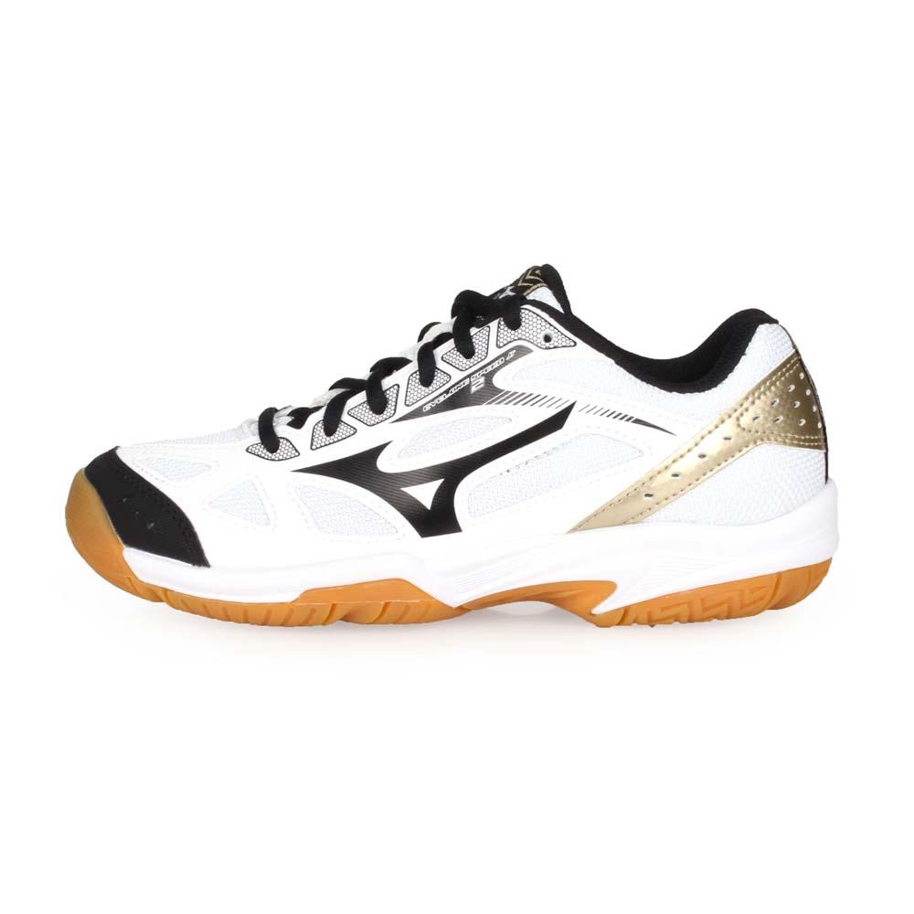 MIZUNO CYCLONE SPEED 2 JR. 男女童排球鞋-童鞋 美津濃 白黑金@V1GD191009@