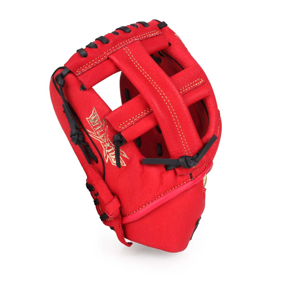 MIZUNO 少年用手套-通用 左投 棒球 壘球 美津濃 紅金@1AJGY21700-62H@