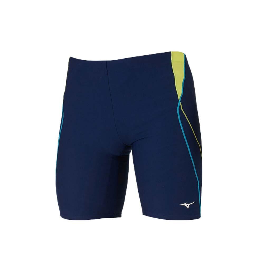 MIZUNO 男五分泳褲-游泳 海邊 平口泳褲 美津濃 丈青黃藍@N2JB910483@