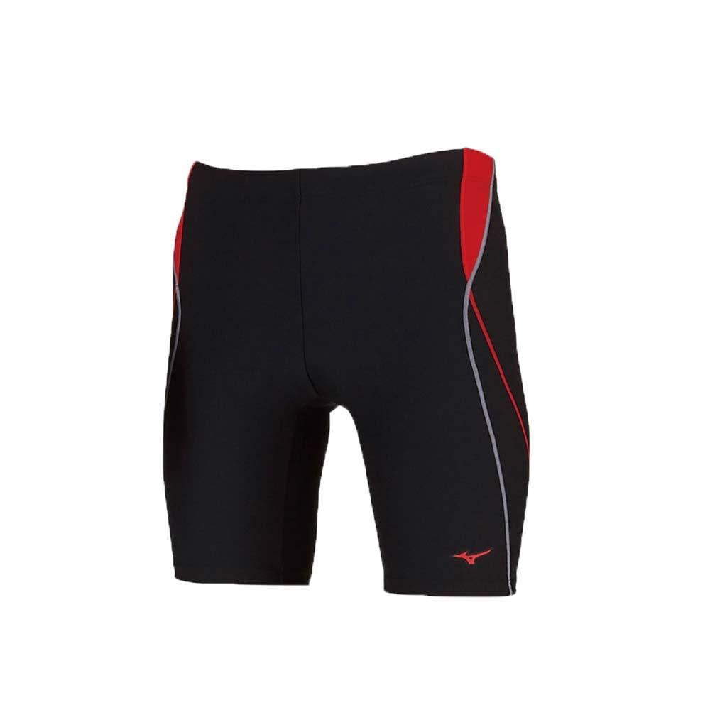 MIZUNO 男五分泳褲-游泳 海邊 平口泳褲 美津濃 黑紅灰@N2JB910496@