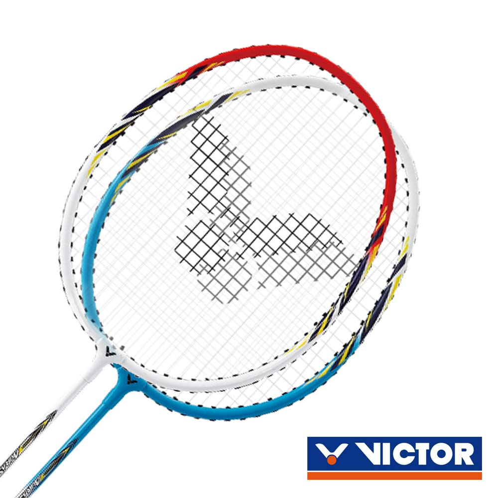 VICTOR 速度-穿線拍-對拍組-勝利 羽球拍 2支入 附羽球 紅白藍@ARS1010@