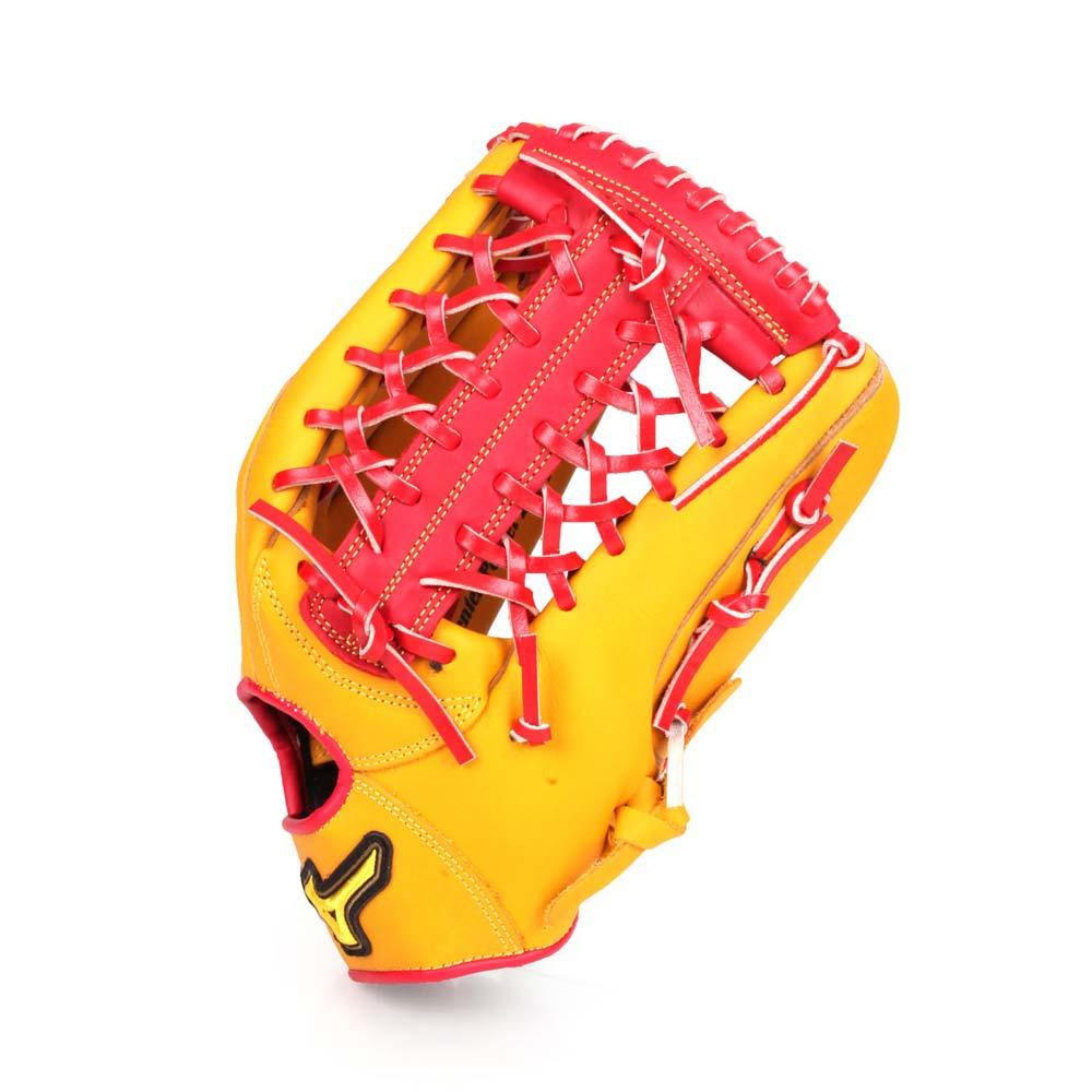 MIZUNO 壘球手套-外野手用  右投 棒球 美津濃 黃紅@1ATGS90860-47@