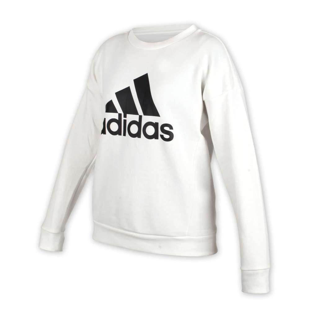 ADIDAS 女內刷毛長袖T恤-保暖 慢跑 大學T 愛迪達 白黑@DX7965@