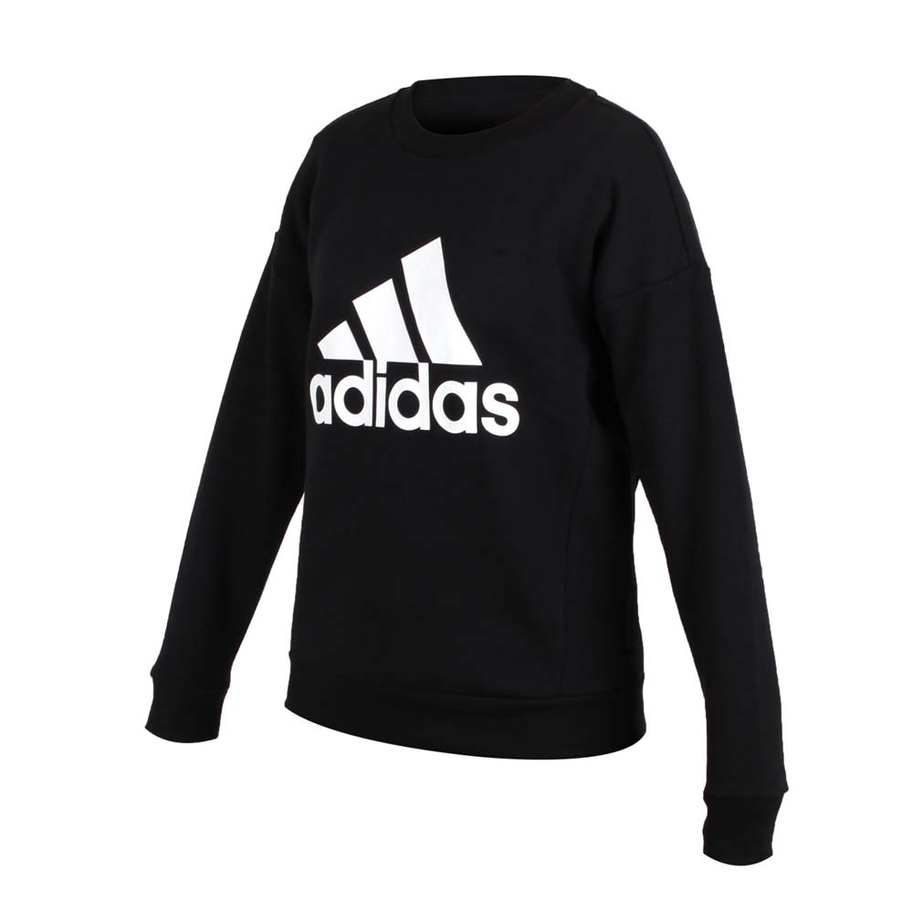 ADIDAS 女內刷毛長袖T恤-保暖 慢跑 大學T 愛迪達 黑白@EB3815@