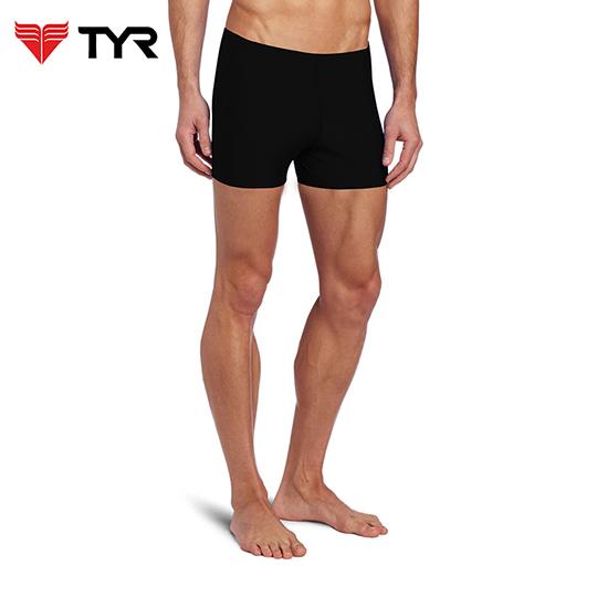 美国TYR男用四角黑色训练款泳裤Solid Boxer Trunk