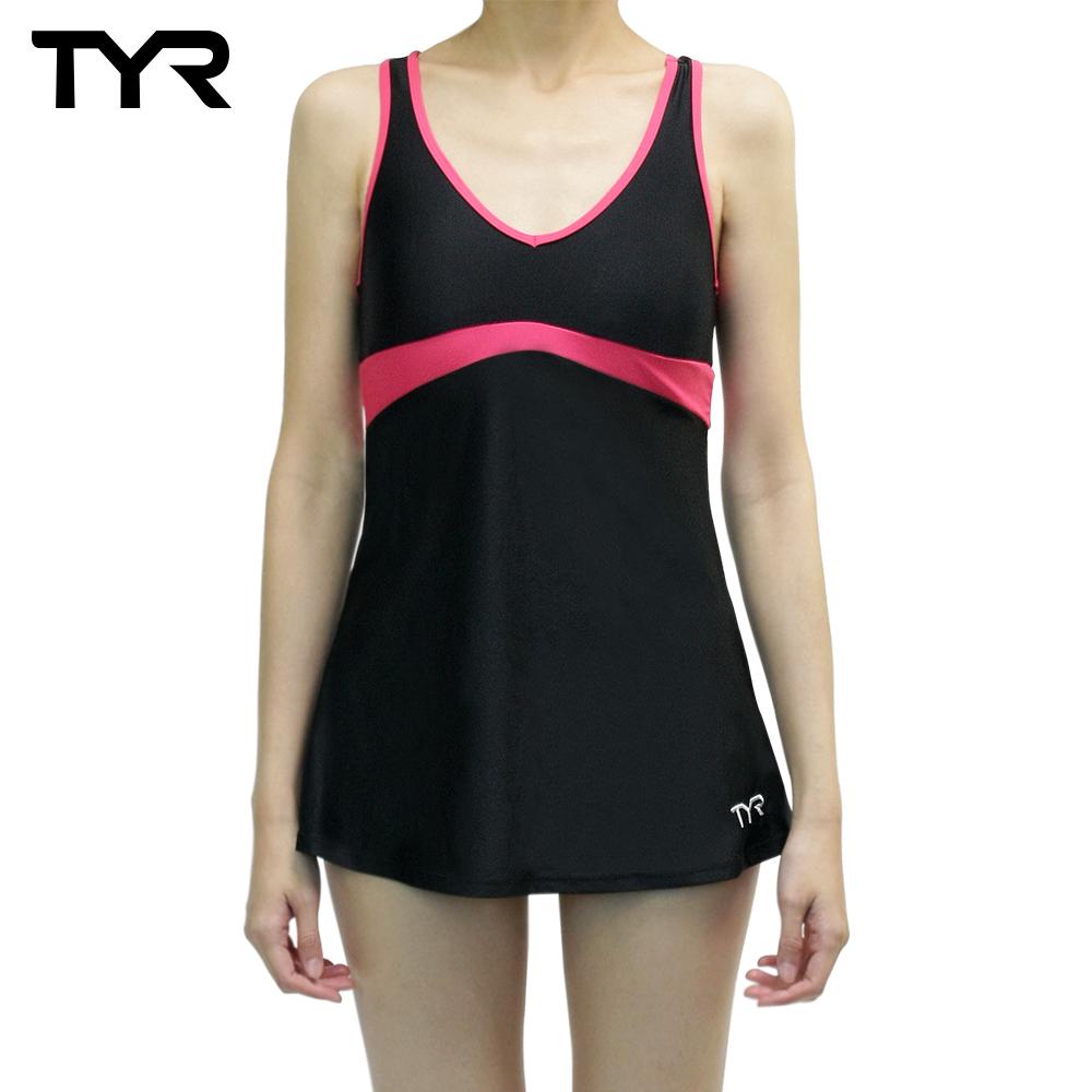 美国TYR女用修身连身裙泳装Celsia Swim Dress Peach台湾总代理