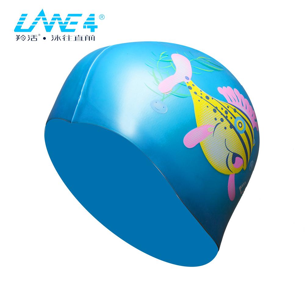 LANE4羚活 SILICONE 儿童矽胶泳帽-河豚