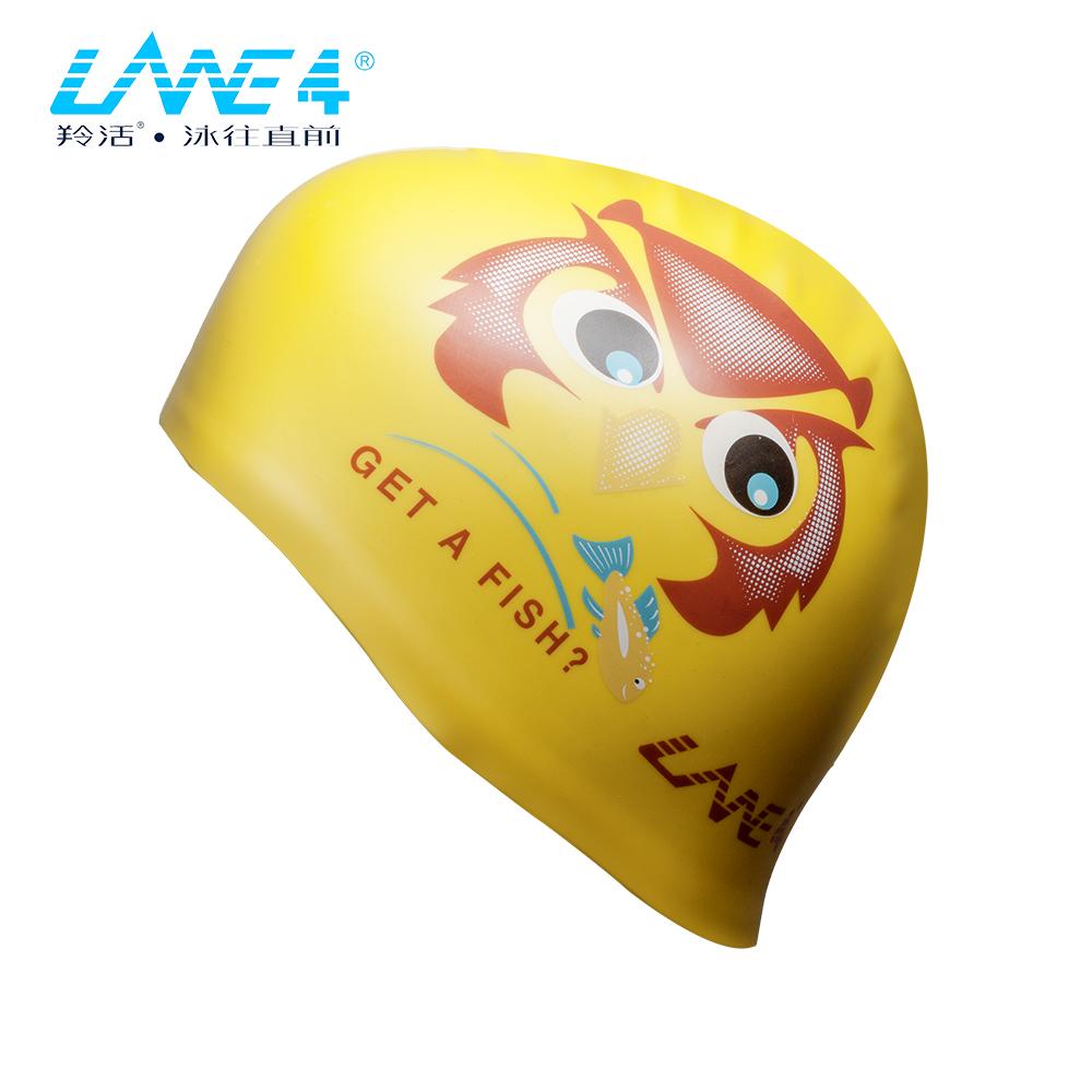 LANE4羚活 SILICONE 儿童矽胶泳帽-猫头鹰