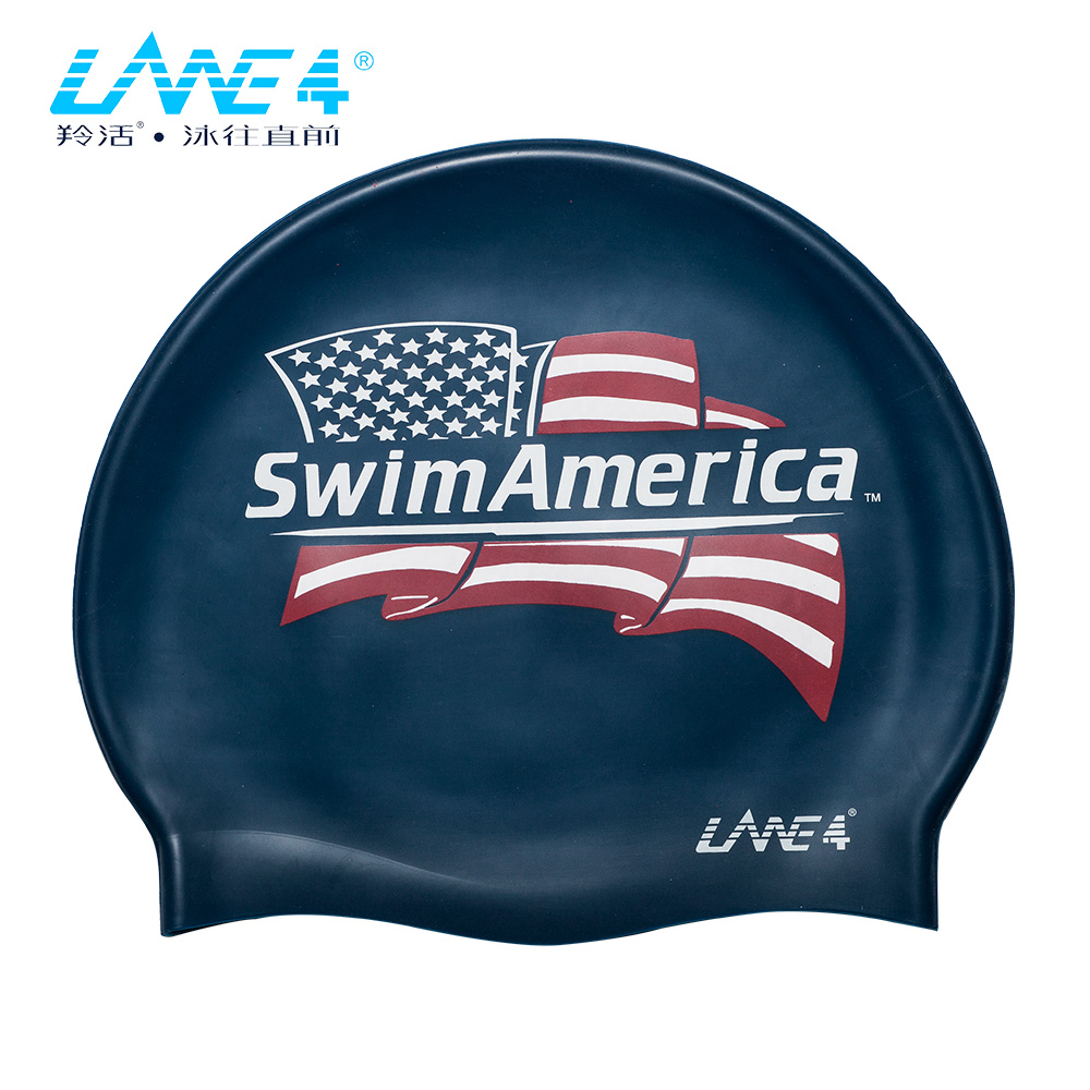 LANE4羚活 SILICONE 儿童矽胶泳帽-美国国旗