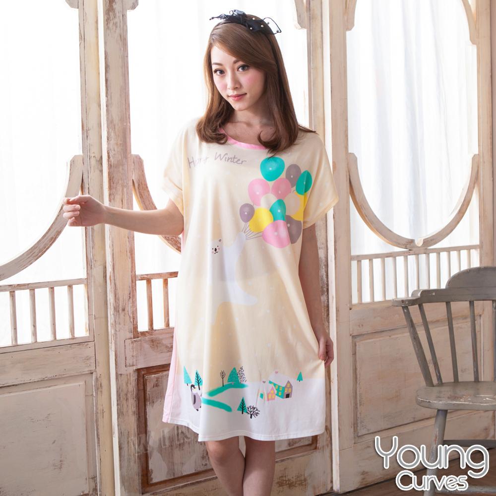 Young Curves 牛奶丝质短袖连身睡衣(C01-100563白熊气球海)