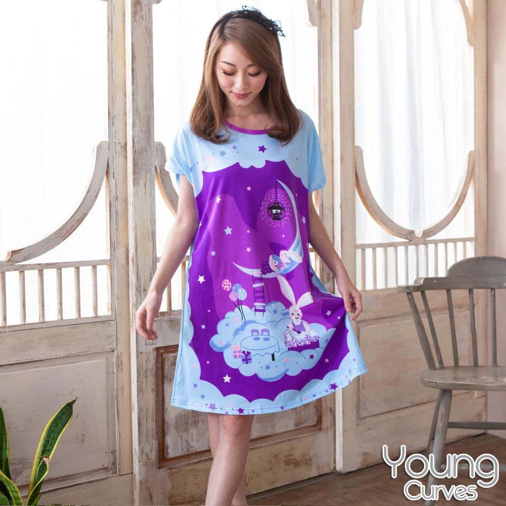 Young Curves 牛奶丝质短袖连身睡衣(C01-100564紫色星空小兔)