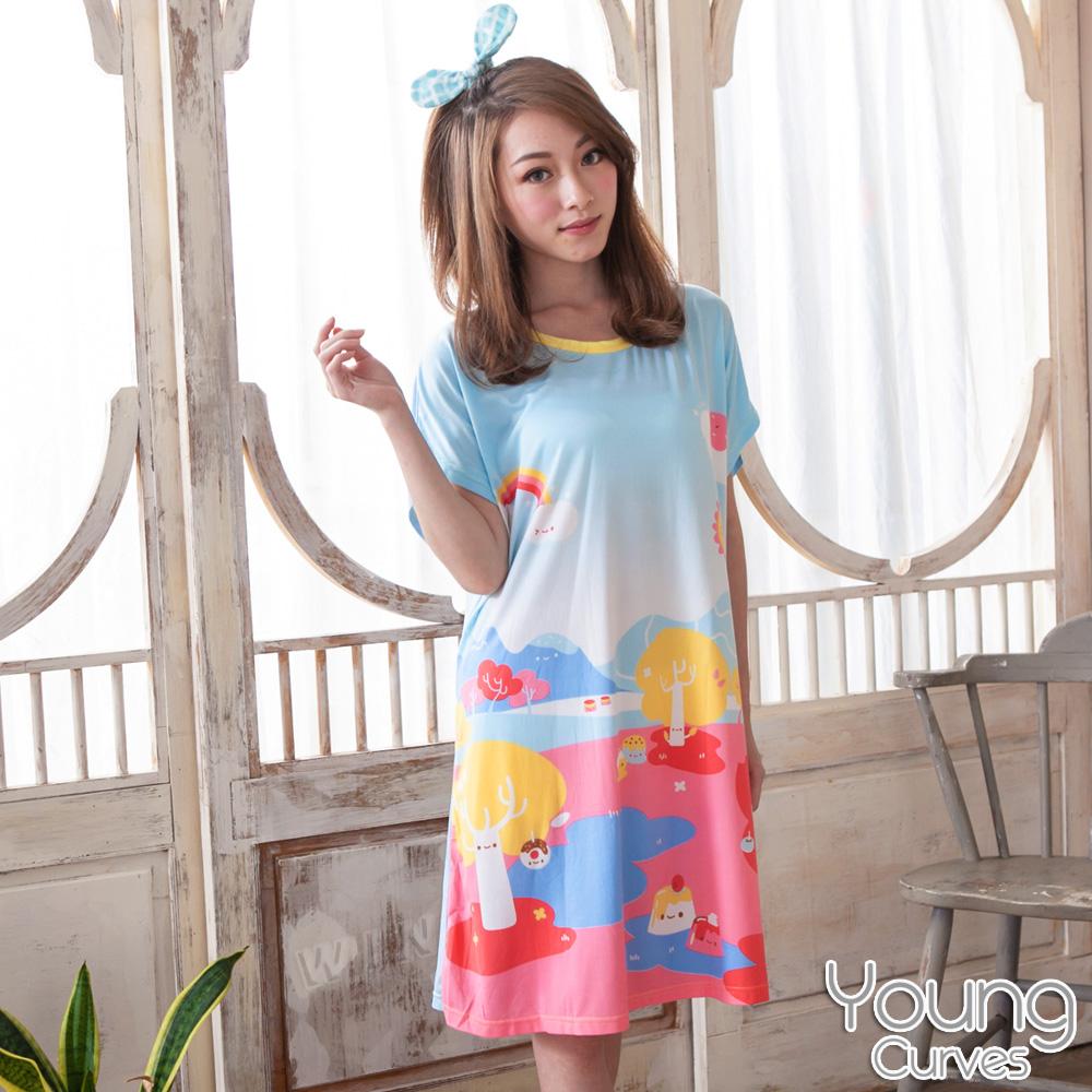 Young Curves 牛奶丝质短袖连身睡衣(C01-100570梦幻甜点王国)