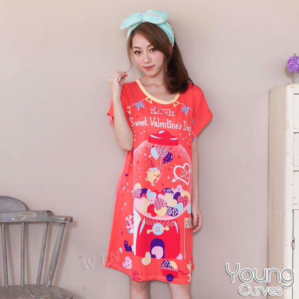 Young Curves 牛奶丝质短袖连身睡衣(C01-100572刺猬情人节扭蛋)