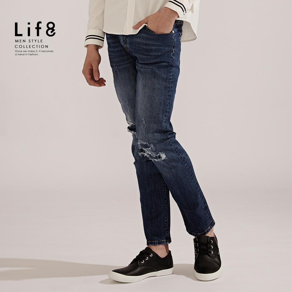 【Life8】Casual 微弹丹宁 水洗补丁长裤【02411】