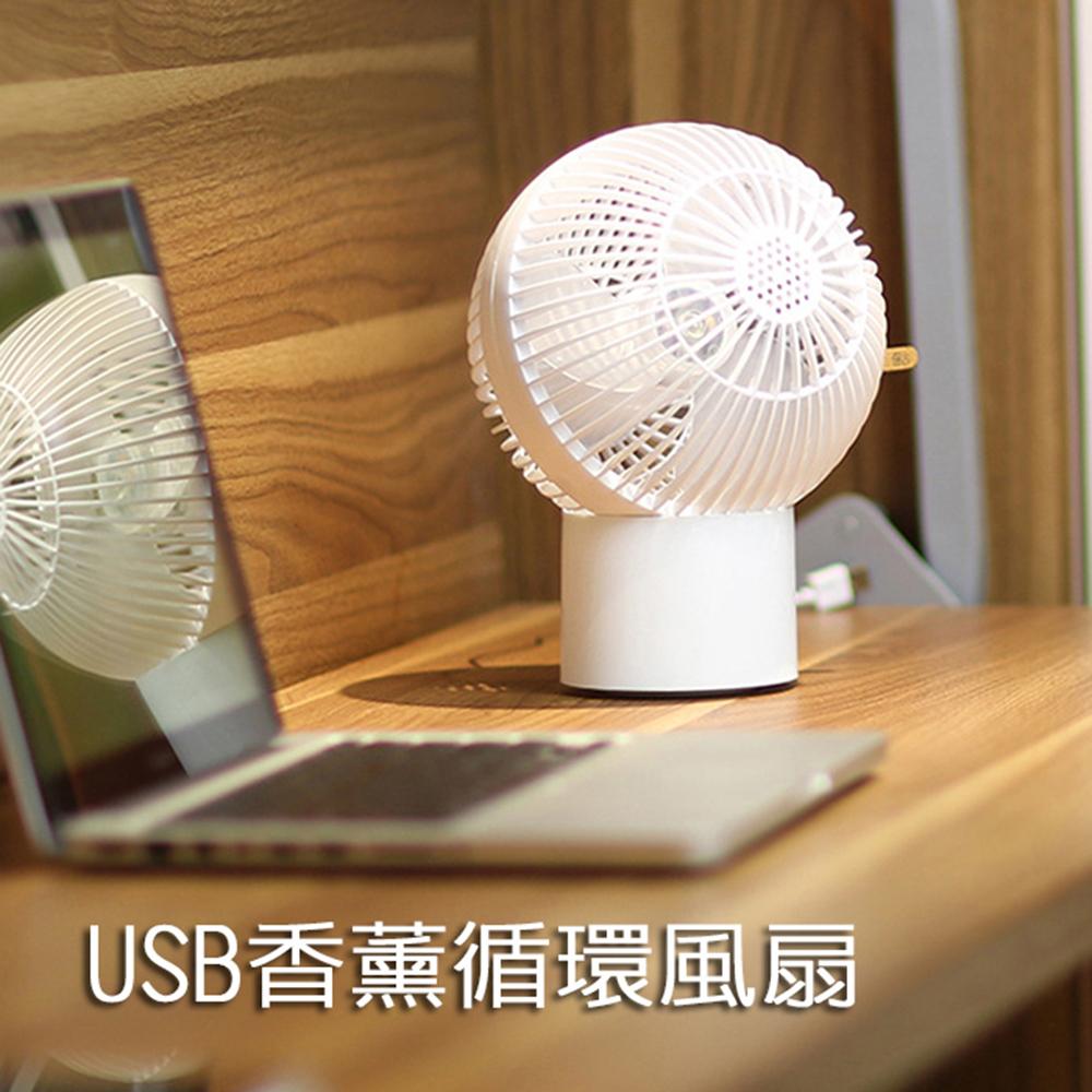 球形香薰空氣循環風扇 7吋 USB電風扇 桌扇 涼風扇 擴香 兩段調速
