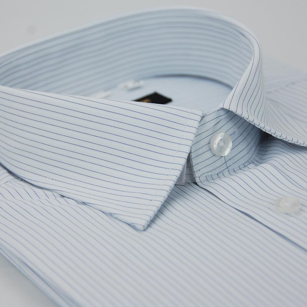 【金安德森】白底藍細紋窄版短袖襯衫