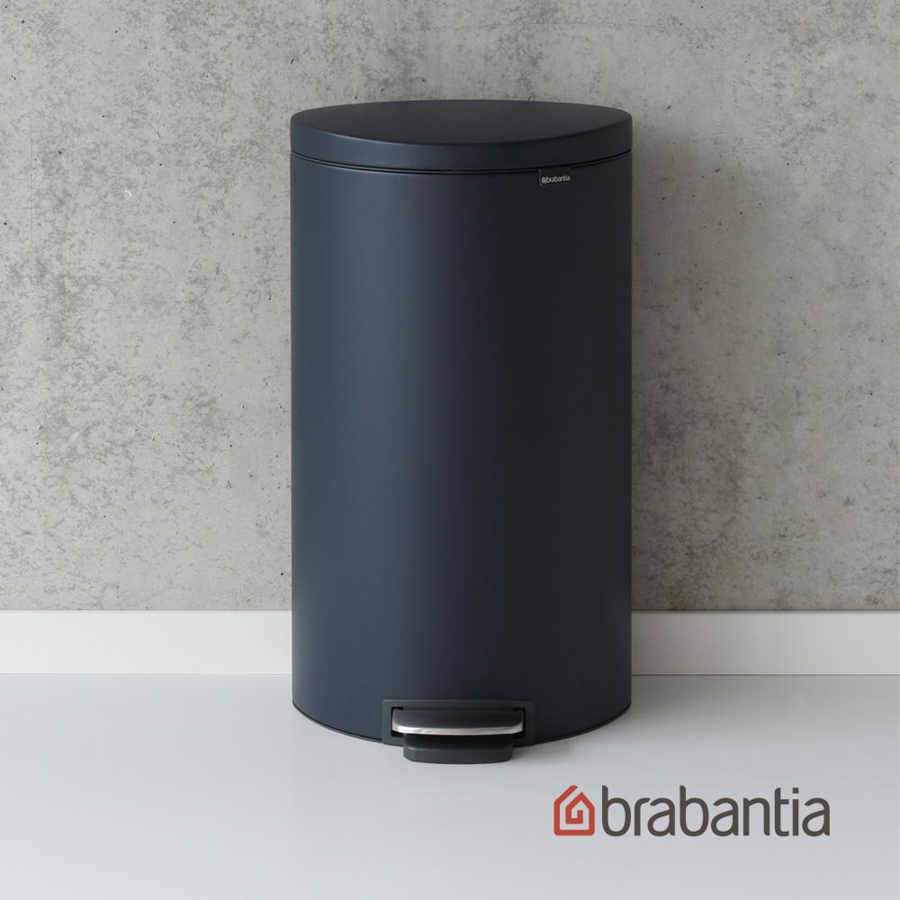 【Brabantia】Flatback半月腳踏式垃圾桶30L寶藍色