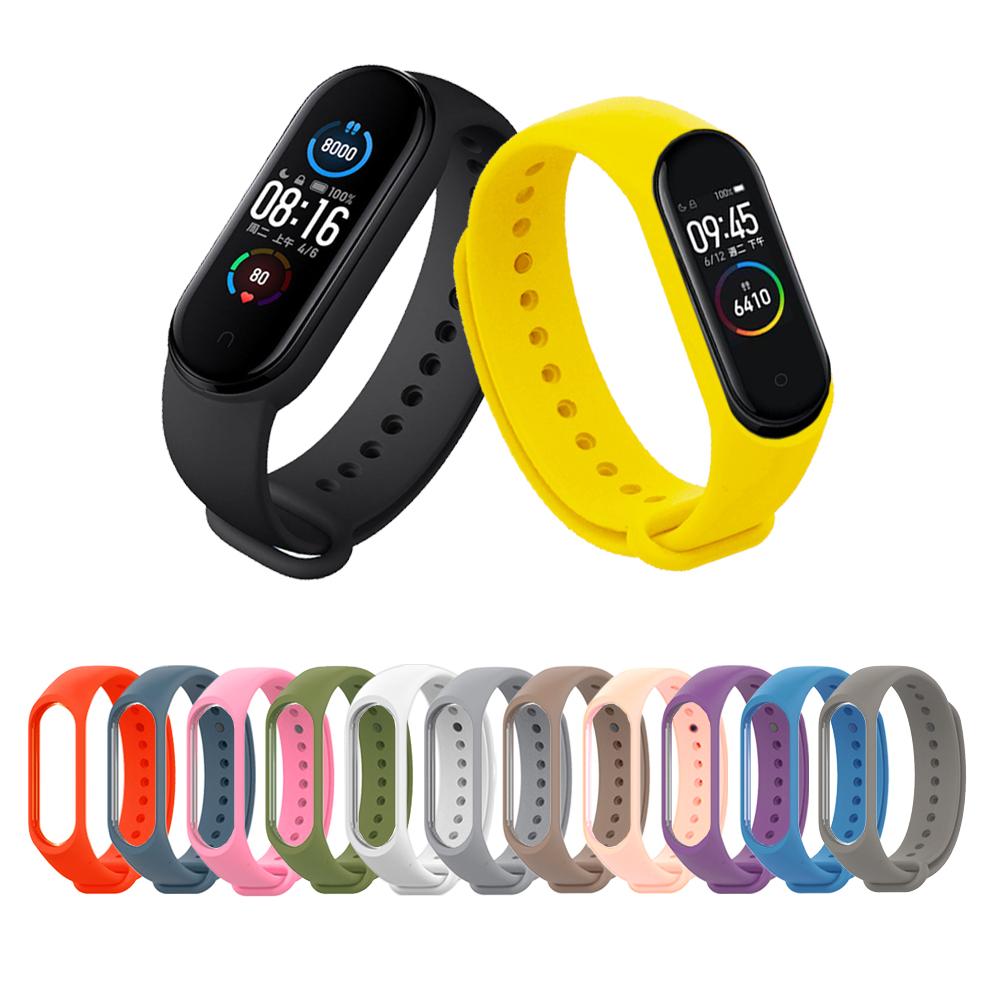 小米手環4代/3代 純色矽膠運動替換手環錶帶