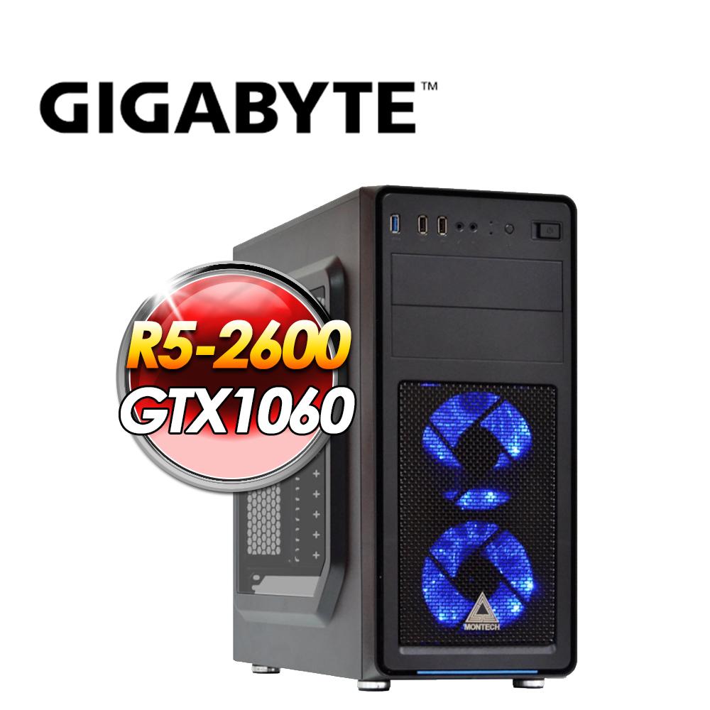 技嘉平台B450【絕地重生】R5-2600/GTX 1060-6G/1TB HDD + 240G SSD/8*2G D4/650W 80+銅