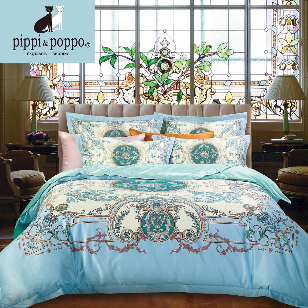 【pippi & poppo】迪歐莊園 頂級60支天絲萊賽爾-數位印花雙人加大薄被套床包四件組(6X6.2尺)