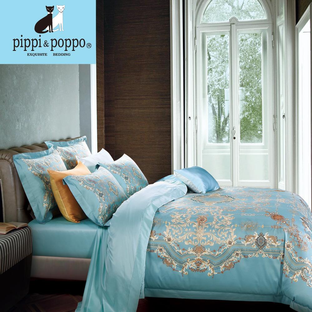 【pippi & poppo】羅馬假日 頂級60支天絲萊賽爾-數位印花雙人加大薄被套床包四件組(6X6.2尺)