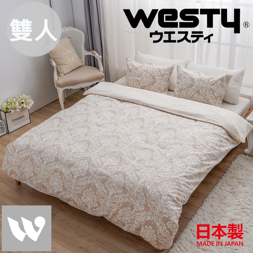 【贈Kitty濕紙巾80抽*3】日本西村Westy 法國時代雙人被套三件組(被套+枕套x2)-象牙白(100%純棉日製)