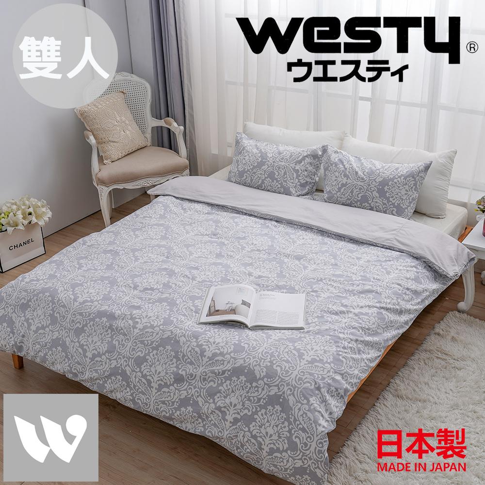 【贈Kitty濕紙巾80抽*3】日本西村Westy 法國時代雙人被套三件組(被套+枕套x2)-優雅灰(100%純棉日製)
