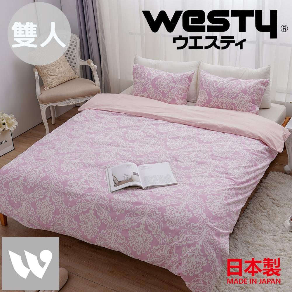 【贈Kitty濕紙巾80抽*3】日本西村Westy 法國時代雙人被套三件組(被套+枕套x2)-清新粉(100%純棉日製)