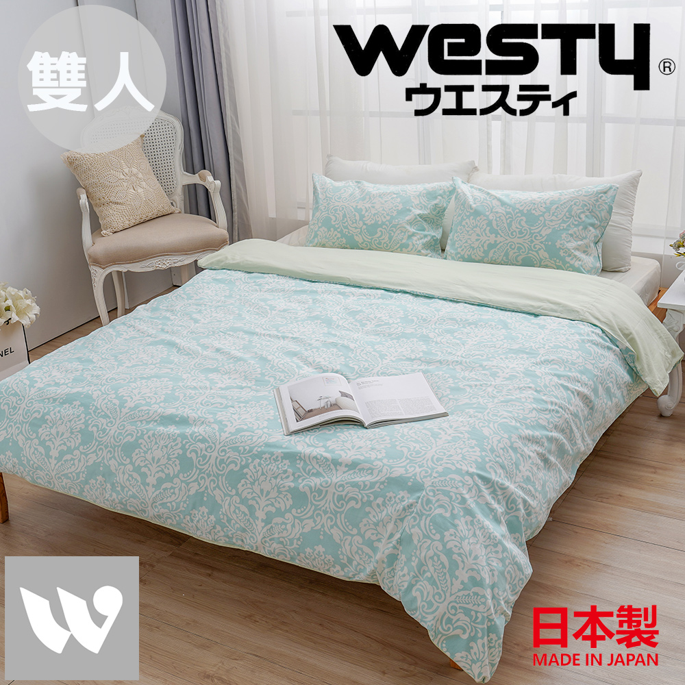 【贈Kitty濕紙巾80抽*3】日本西村Westy 法國時代雙人被套三件組(被套+枕套x2)-清新綠(100%純棉日製)