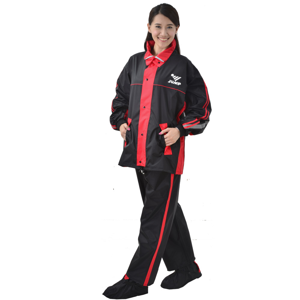 【JUMP】雅仕II代套裝休閒風雨衣(M~4XL_黑紅)加大尺寸JP666