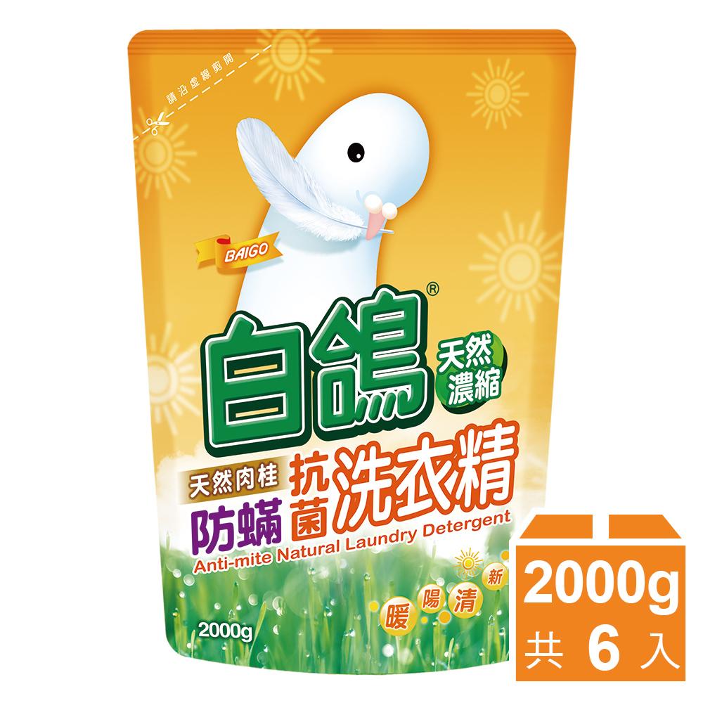 【白鸽】天然浓缩抗菌洗衣精 肉桂防蹒-补充包2000gx6包