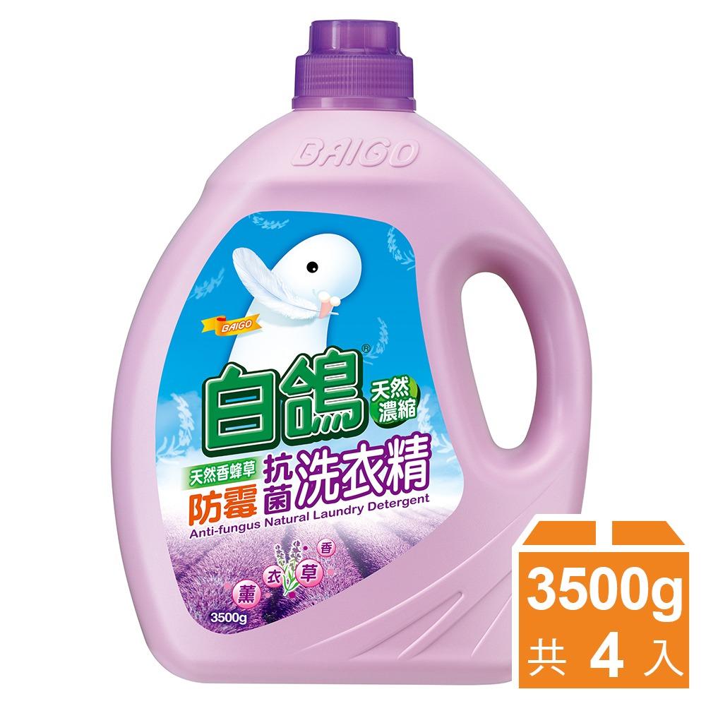 【白鸽】天然浓缩抗菌洗衣精 香蜂草防霉-3500gx4瓶
