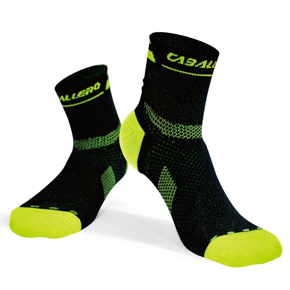 【CABALLERO】專業跑步運動襪 黑/螢光黃 S/M