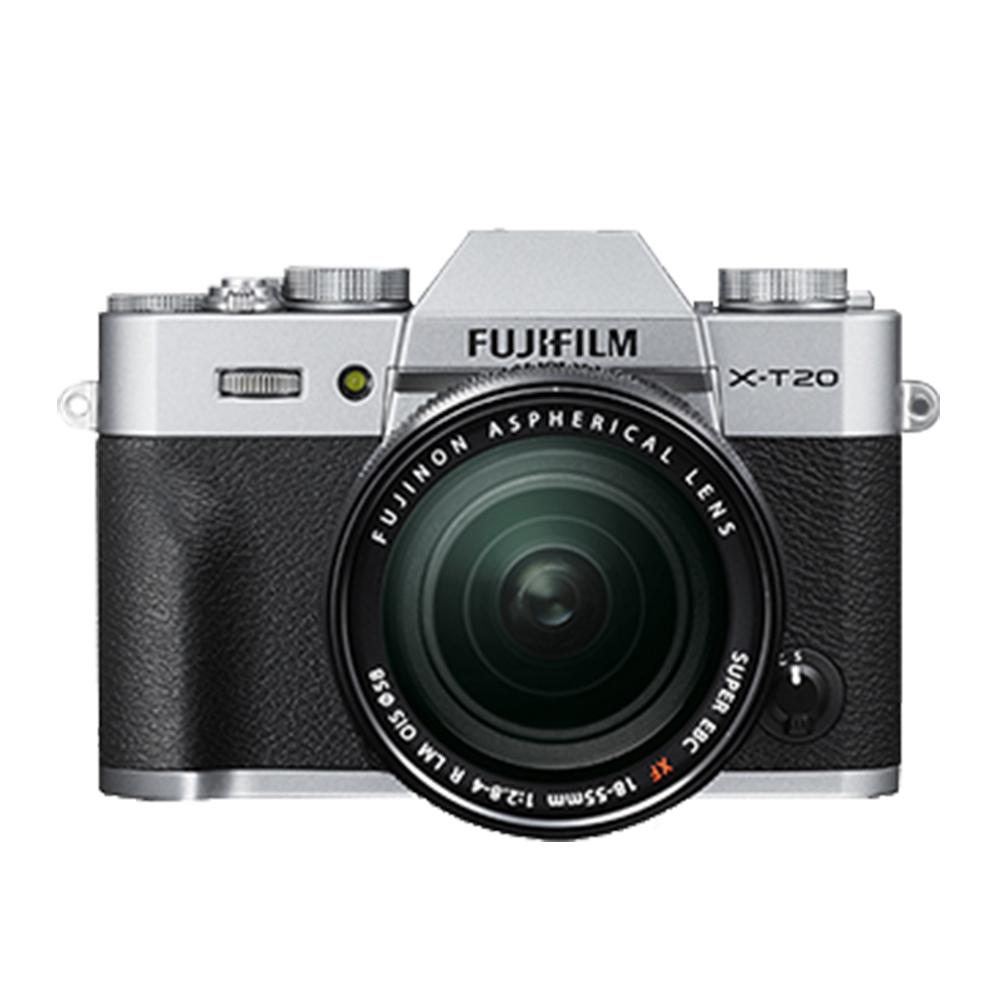 Fujifilm富士 X-T20 XF18-55mm (银色-中文平输) - 送副厂电池+清洁组+保护贴