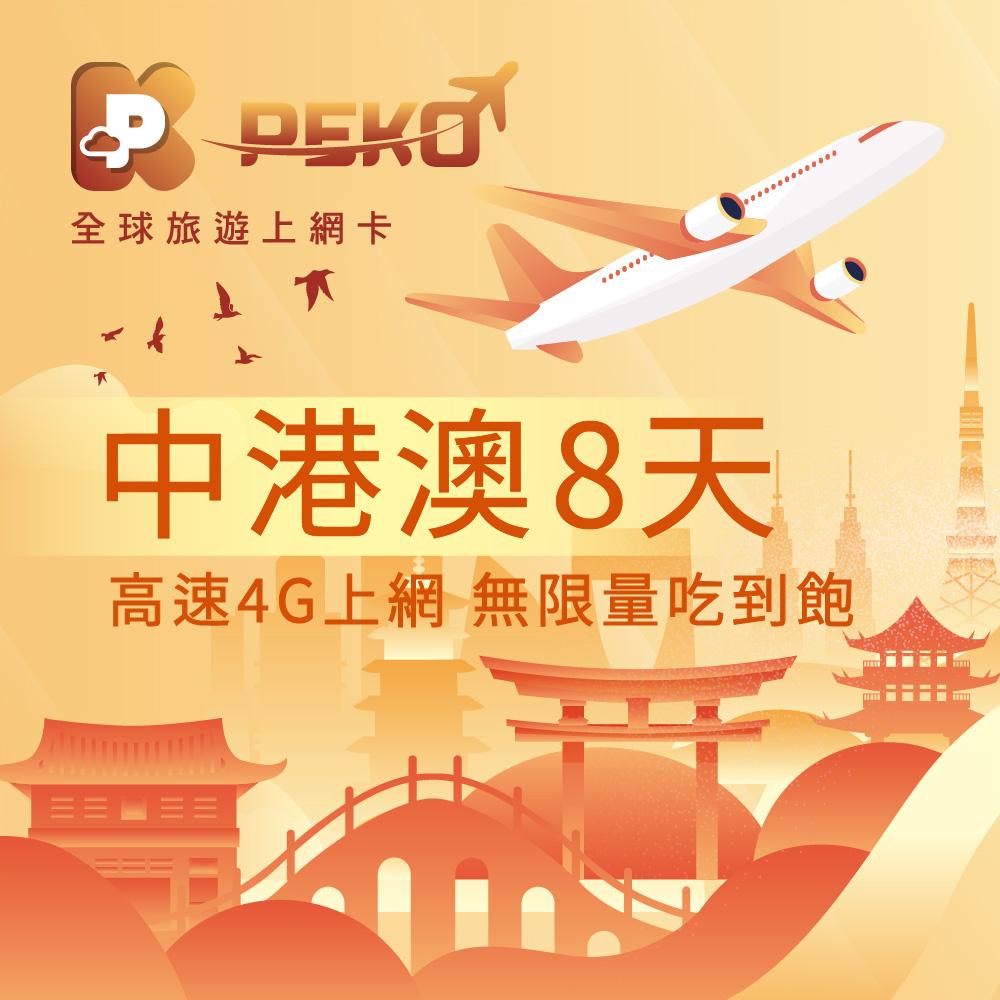 【PEKO】中港澳上網卡 8日高速4G上網 無限量吃到飽 優良品質高評價