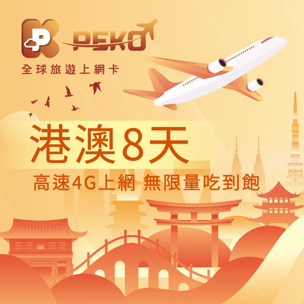 【PEKO】港澳上網卡 8日高速4G上網 無限量吃到飽 優良品質高評價