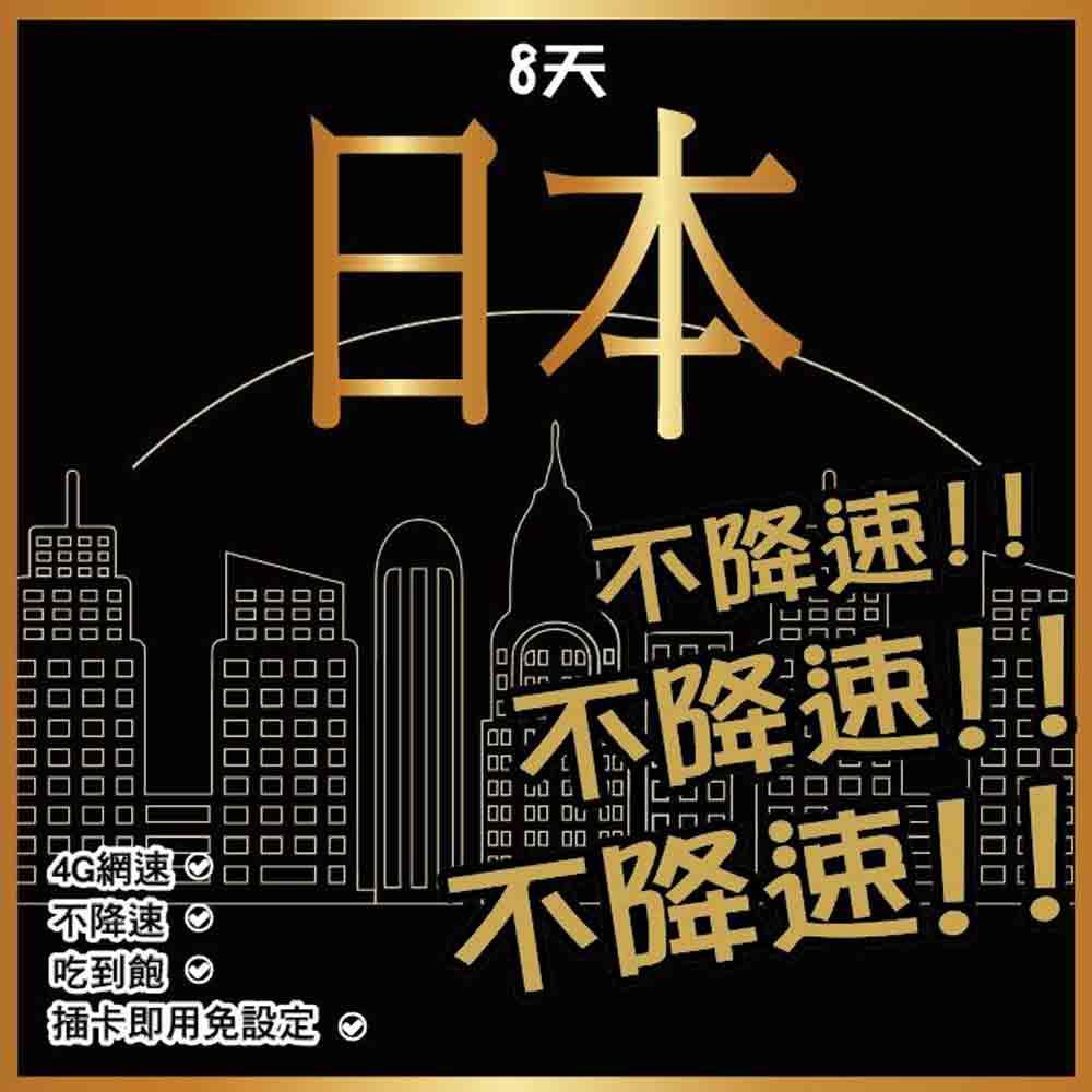日本網卡 8天 4G上網 【不降速吃到飽】免設定 免開卡 隨插即用 網路