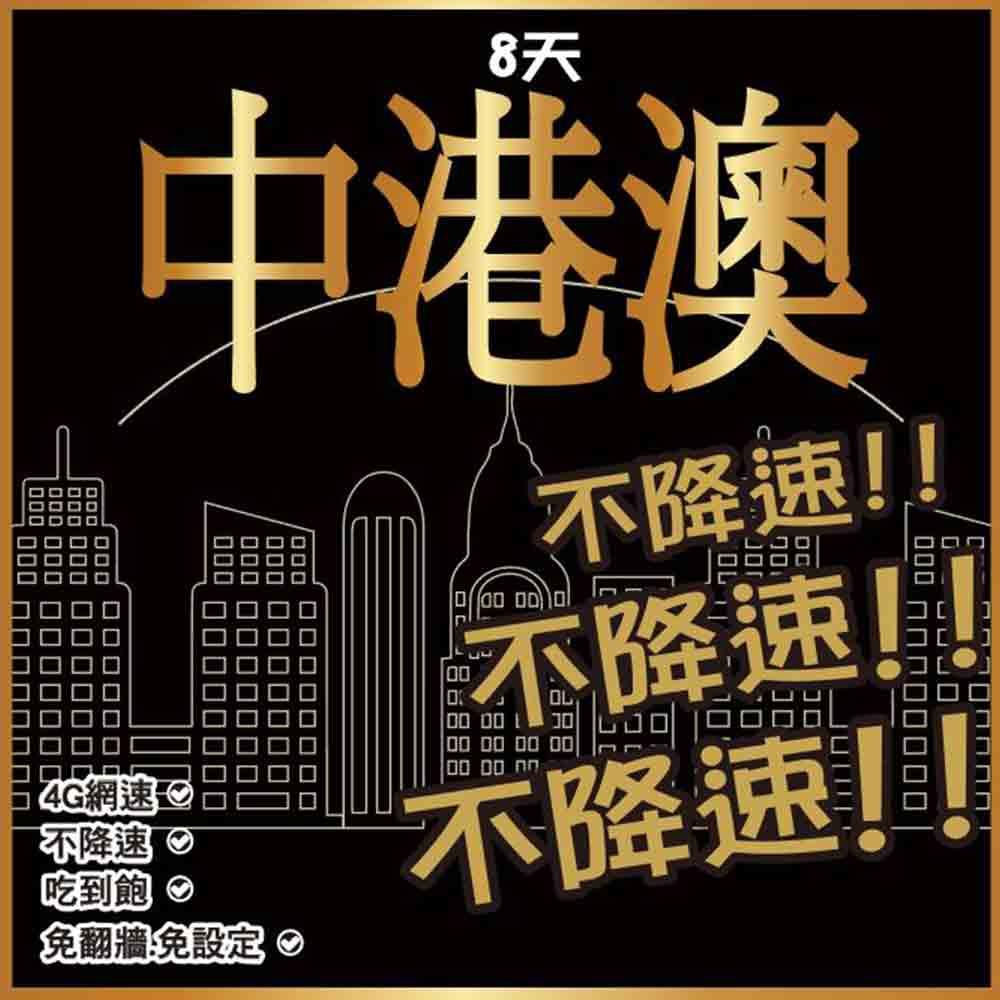 中國 香港 澳門網卡 8天 4G上網 【不降速吃到飽】免設定 免開卡 隨插即用 網路