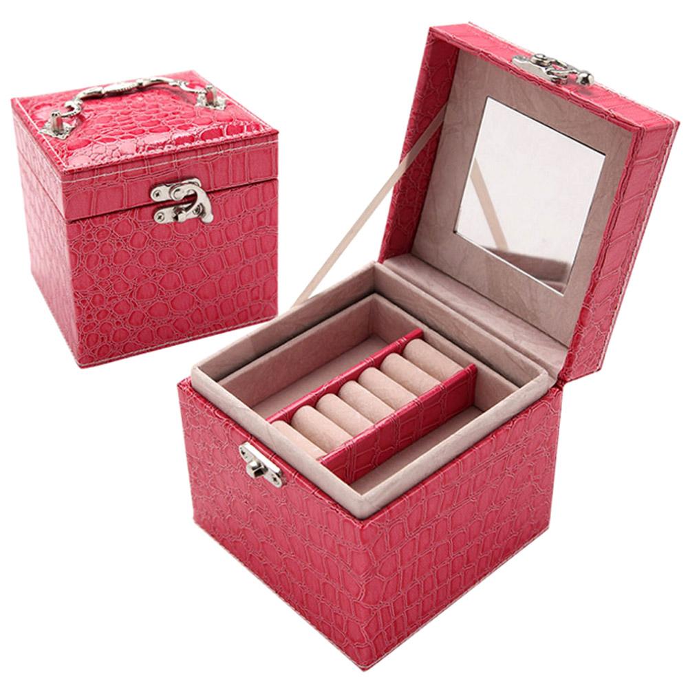 【COMET】時尚鱷紋皮革三層飾品收納盒(TO-BX01)