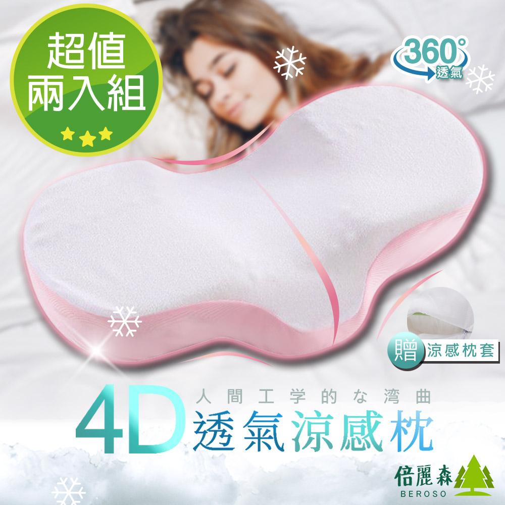 Beroso 倍麗森 超值兩入組-日系人體工學弧度4D透氣涼感護頸回彈記憶枕-兩色可選-BE-B00004