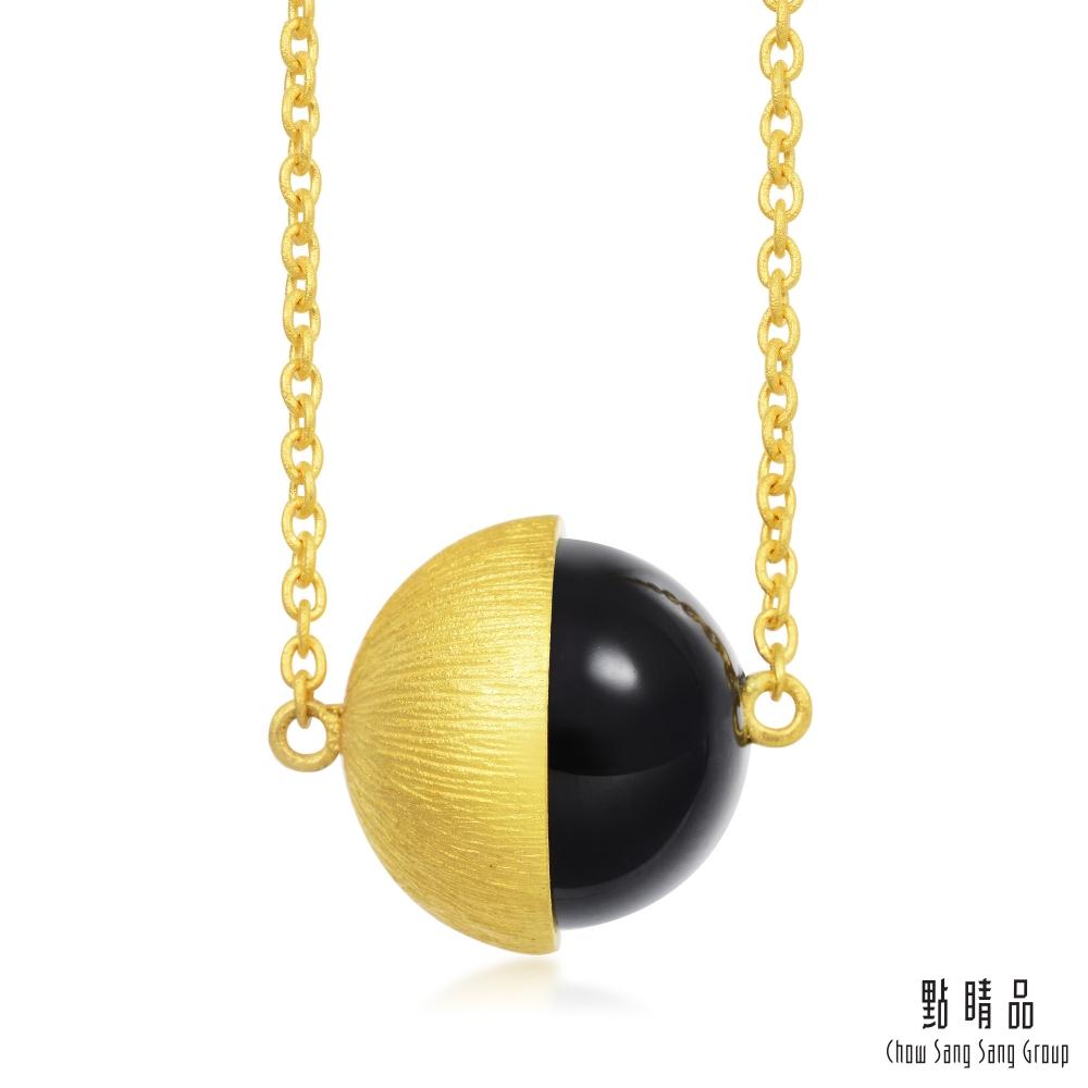 點睛品 g*系列 圓珠黑玉髓黃金項鍊