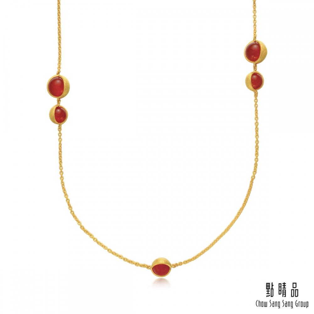 點睛品 g*系列 圓珠紅瑪瑙黃金項鍊(長鍊)