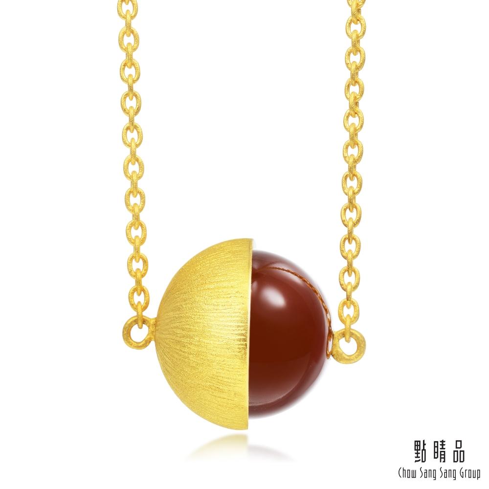 點睛品 g*系列 圓珠紅瑪瑙黃金項鍊