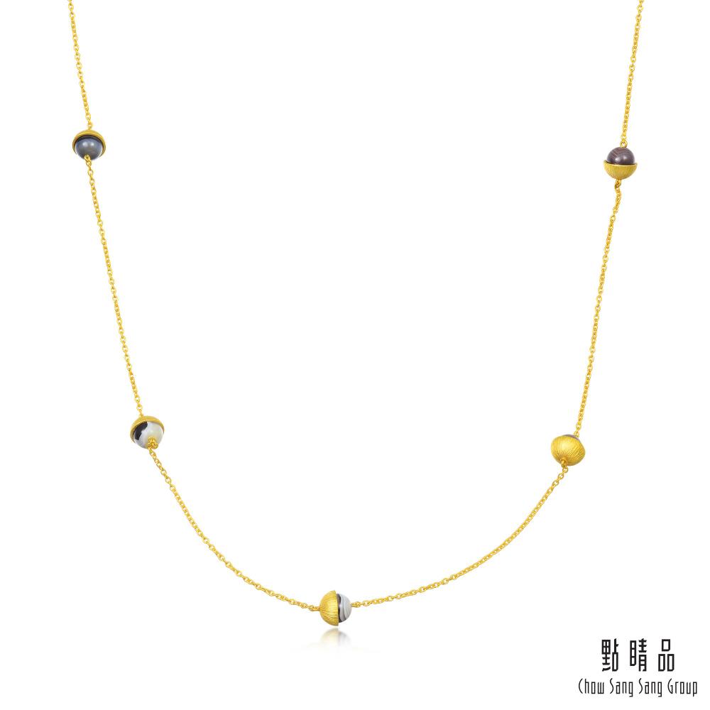 點睛品 g*系列 波斯瑪瑙繞頸垂墜黃金項鍊(長鍊)